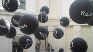 Resonate 2015's main venue boasts a wide selection of black balloons.